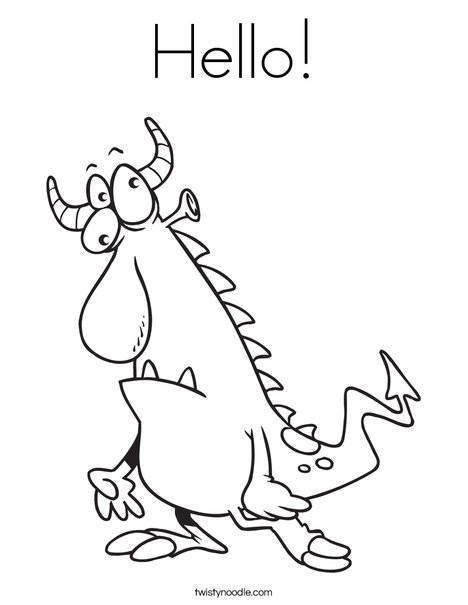 468x605 Hello Coloring Page