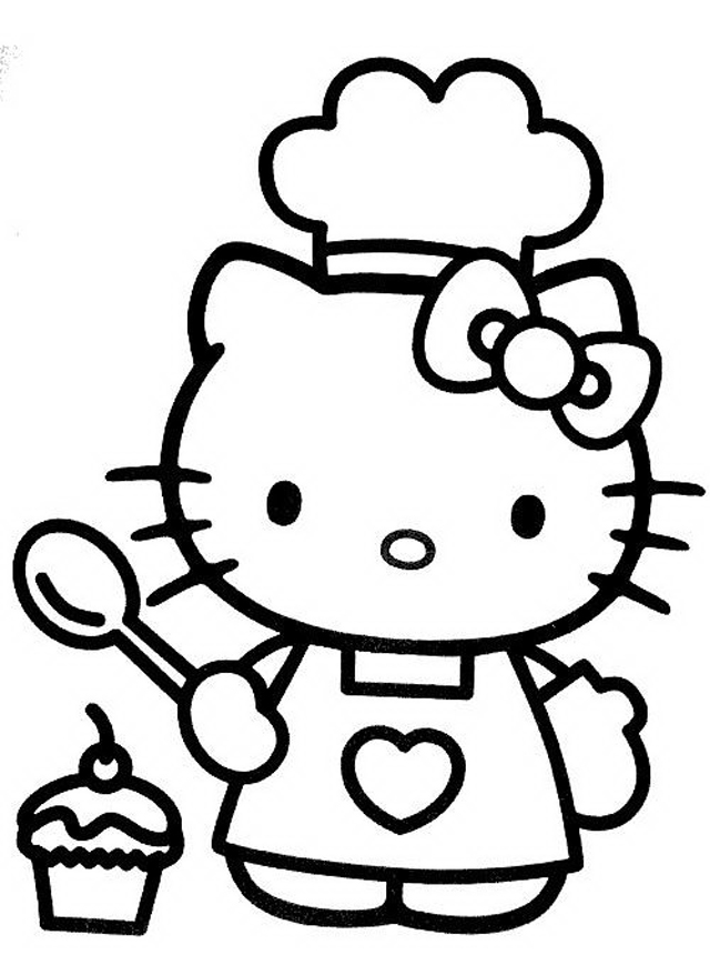 640x860 Hello Kitty Cooking Free Coloring Page Hello Kitty, Kids