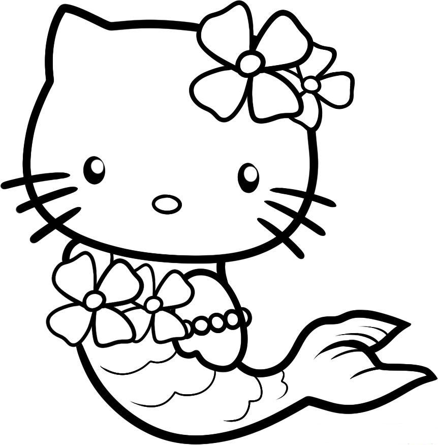 862x875 Hello Kitty Sirene Free Coloring Page Hello Kitty, Kids Coloring