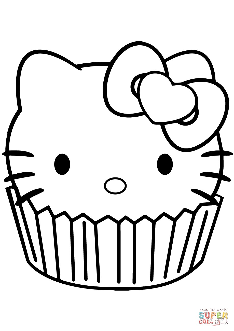 919x1300 Coloring Pages Cupcakes Print New Hello Kitty Cupcake At Page