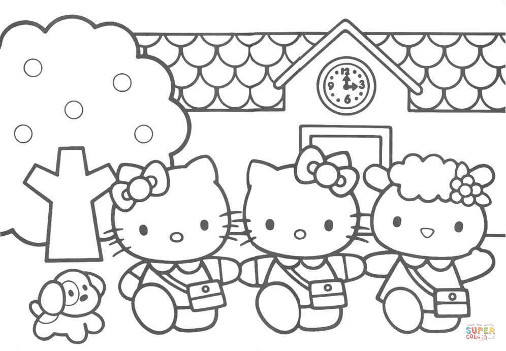 996x691 Hello Kitty Friends Cartoon Coloring Page