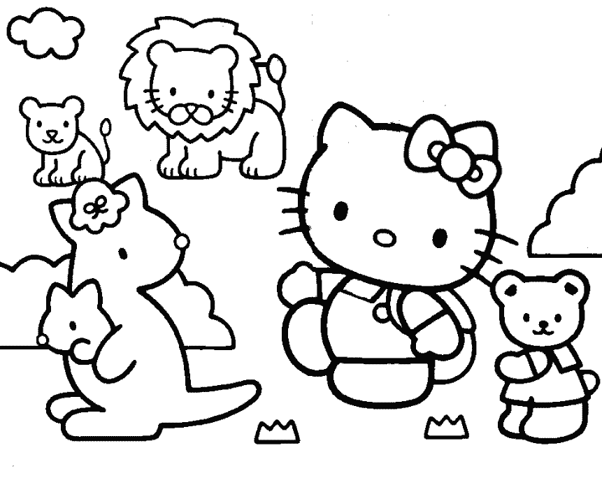 861x684 Hello Kitty And Friends Coloring Page