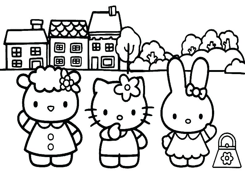 794x567 Hello Kitty And Friends Coloring Pages