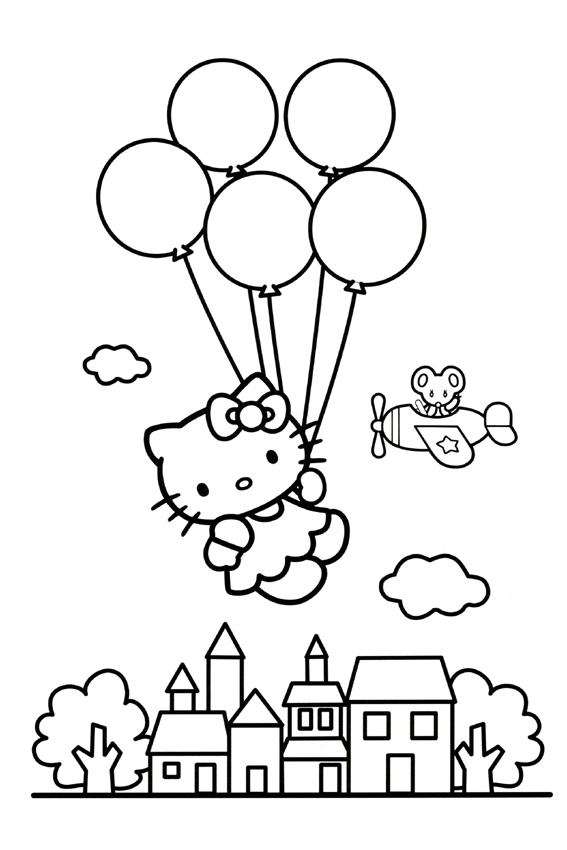 567x850 Hello Kitty Balloons Coloring Page