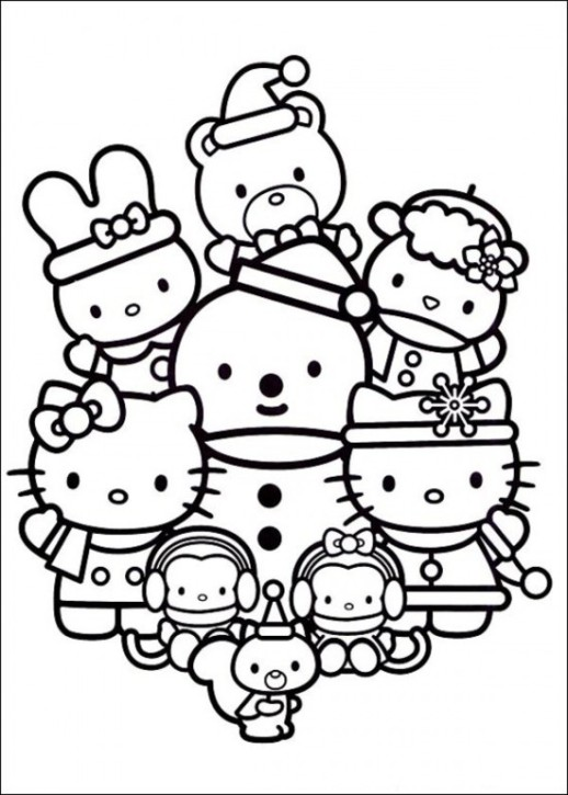 518x725 Hello Kitty Christmas Coloring Pages