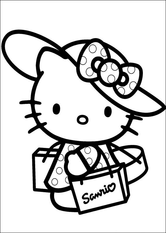 567x794 Coloring Pages Of Hello Kitty Wearing Hat Free Coloring Pages