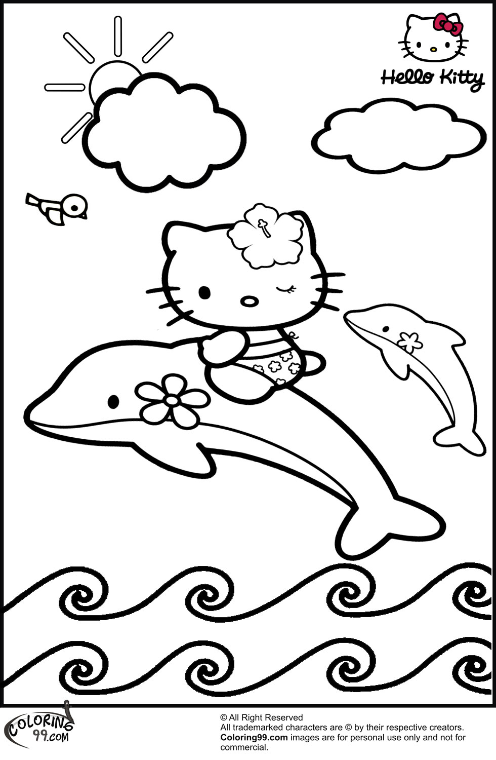 980x1500 Hello Kitty Coloring Pages Team Colors