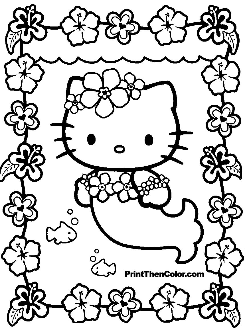 859x1152 Skill Coloring Pages To Print Of Hello Kitty At The Beach Page