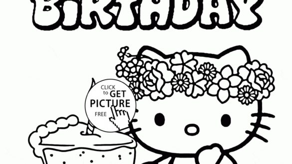 585x329 Hello Kitty Birthday Coloring Pages With Hello Kitty Birthday