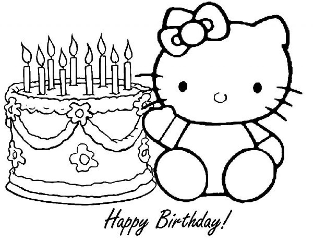 1024x792 Hello Kitty Birthday Coloring Pages