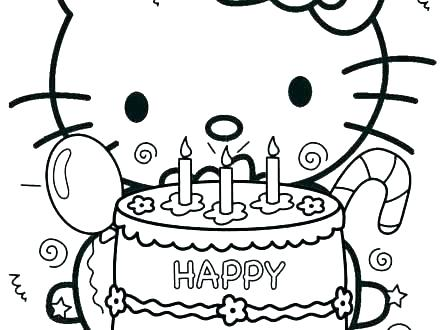 440x330 Birthday Cake Coloring Page Hello Kitty Birthday Coloring Page