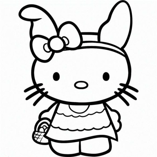 600x600 Easter Hello Kitty Coloring Pages