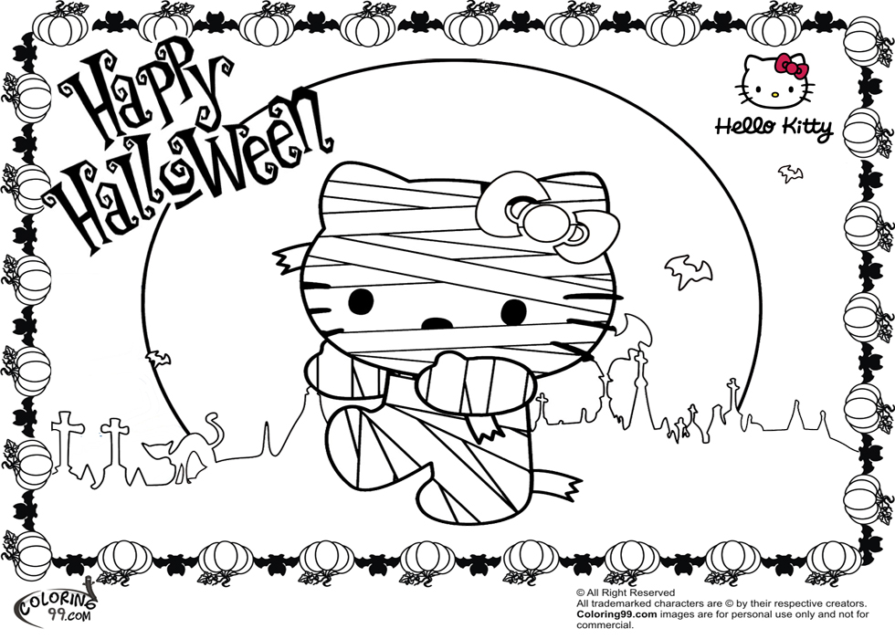 980x700 Hello Kitty Halloween Coloring Pages