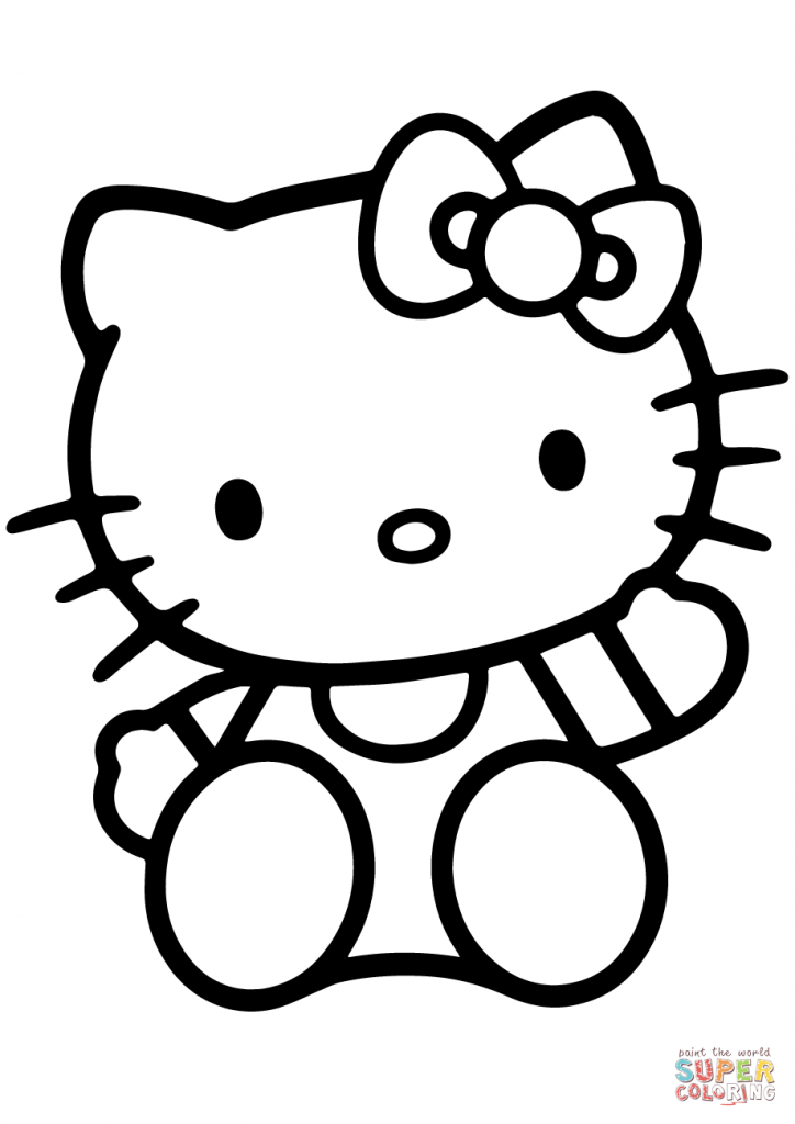 724x1024 Hello Kitty Sitting Cartoon Coloring Page