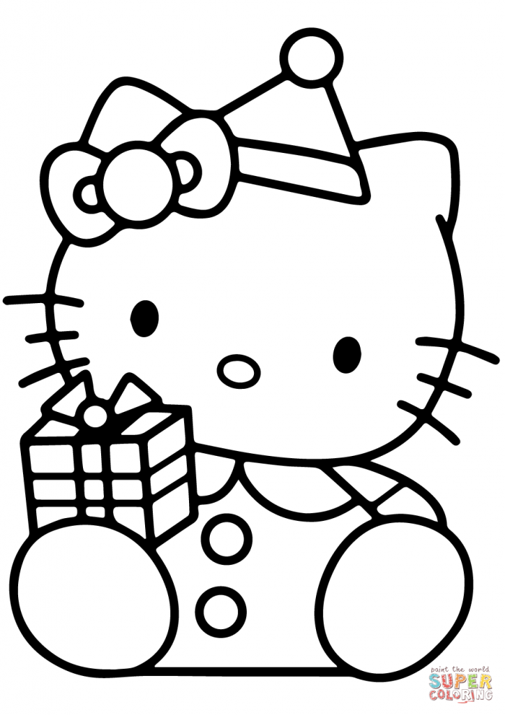 724x1024 Hello Kitty With Christmas Gift Box Cartoon Coloring Page