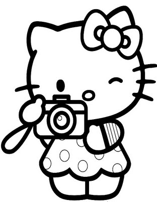 312x400 Hello Kitty Take A Photo Coloring Page