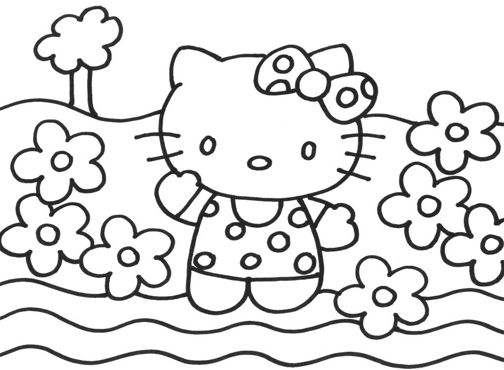 1024x753 Happy Hello Kitty Christmas Coloring Page Hello Kitty Arts