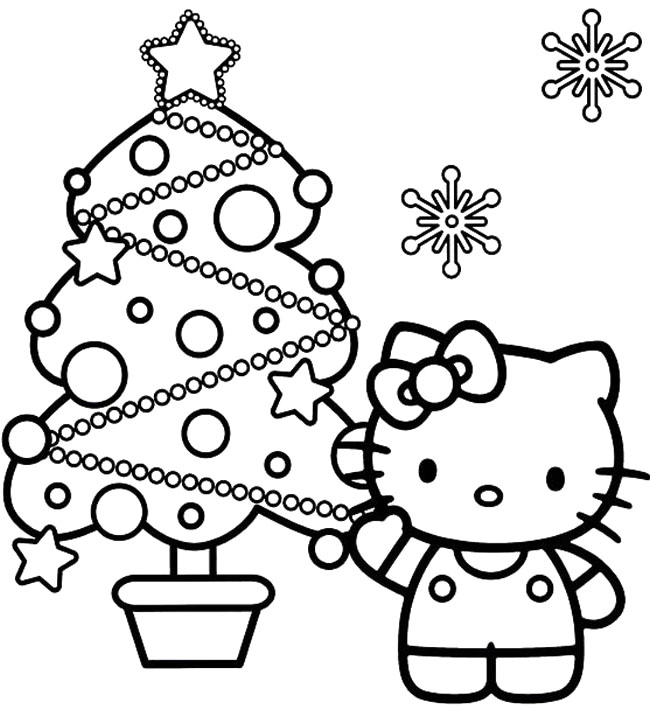 650x710 Hello Kitty And Christmas Tree Coloring Page