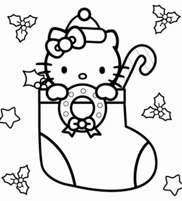 617x680 Hello Kitty Christmas Coloring Pages