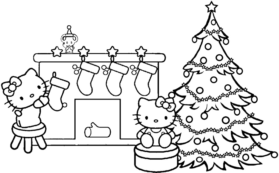 900x558 Coloring Pages Hello Kitty Christmas