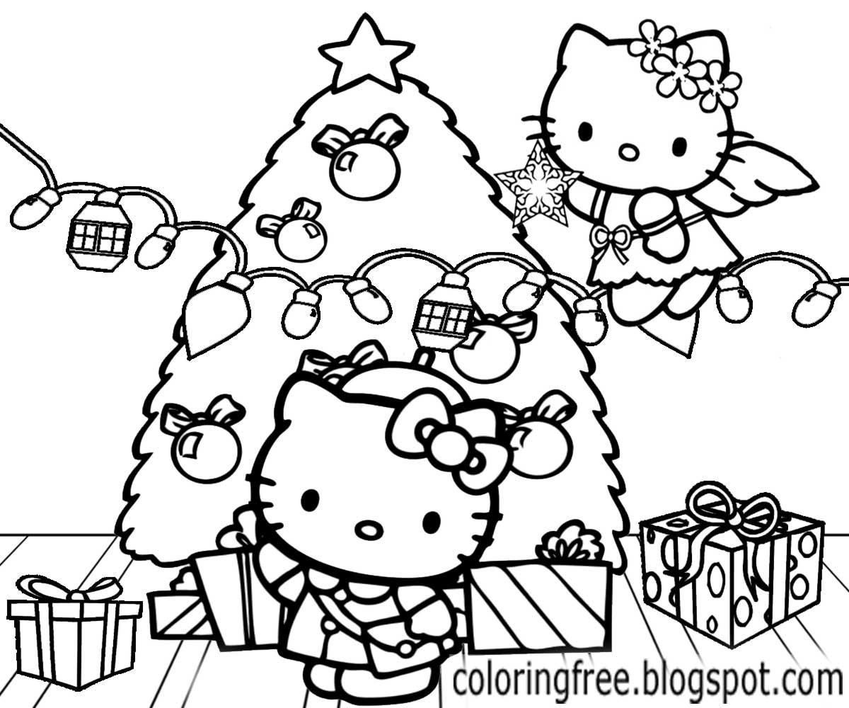 printable hello kitty coloring pages christmas | Hello Kitty Christmas Printable Coloring Pages at ...