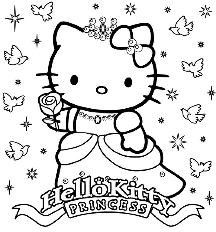 This is a photo of Hello Kitty Coloring Pages Free Printable regarding mermaid