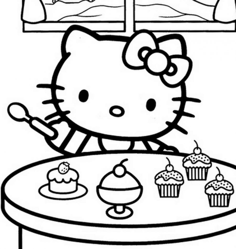 900x949 hello kitty eating ice cream free coloring page hello kitty