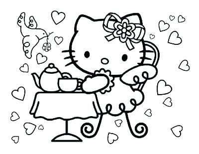 400x309 Kitty Coloring Pages Hello Kitty Coloring Pages Hello Kitty Tea