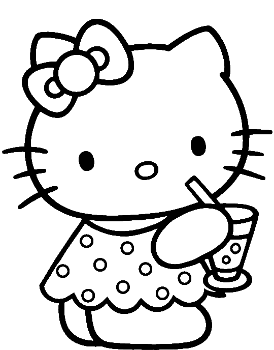 540x688 Hello Kitty Was Drinking Delicious Coloring Page