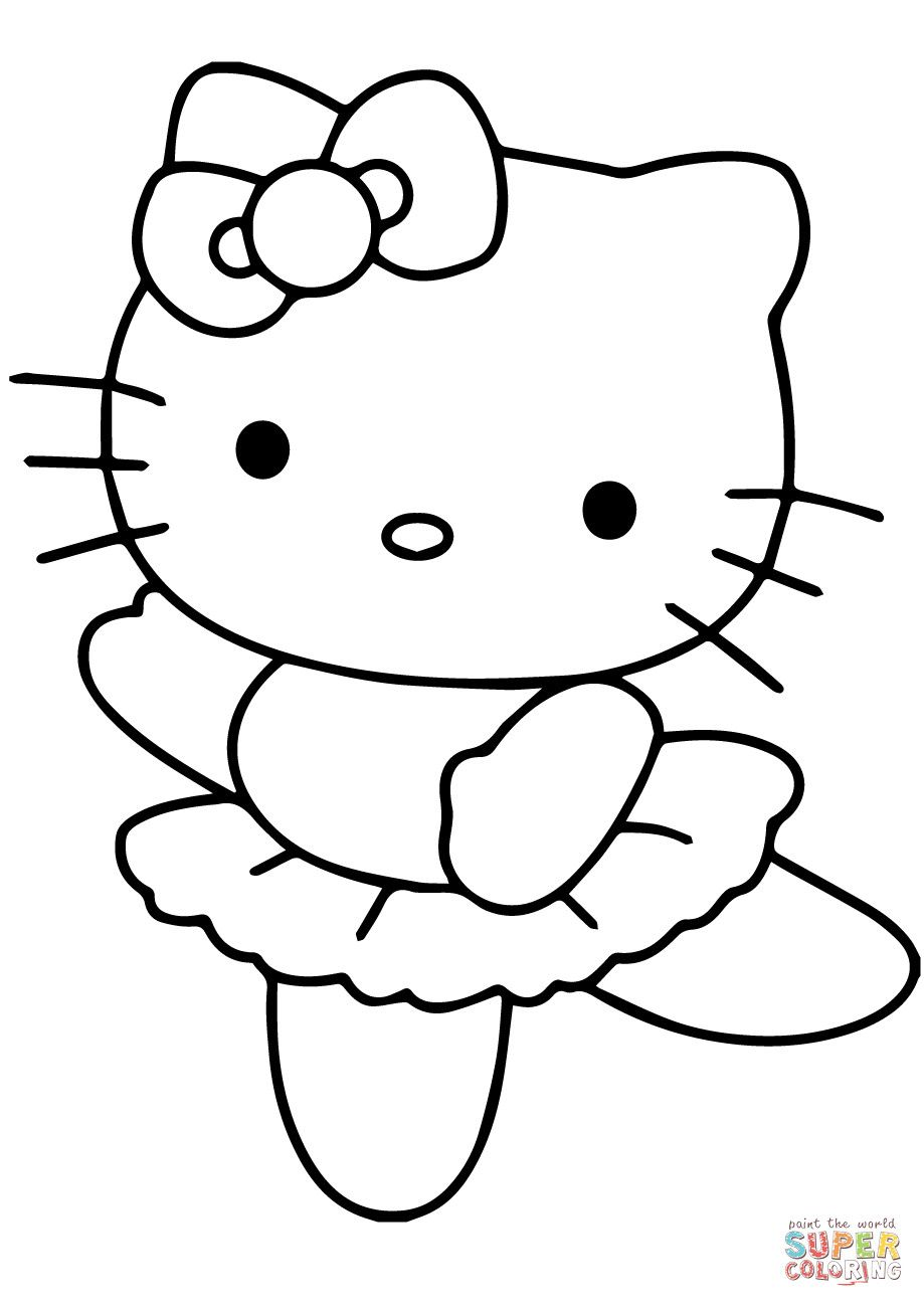 919x1300 Coloring Pages Hello Kitty Ballerina Copy Page Free Printable