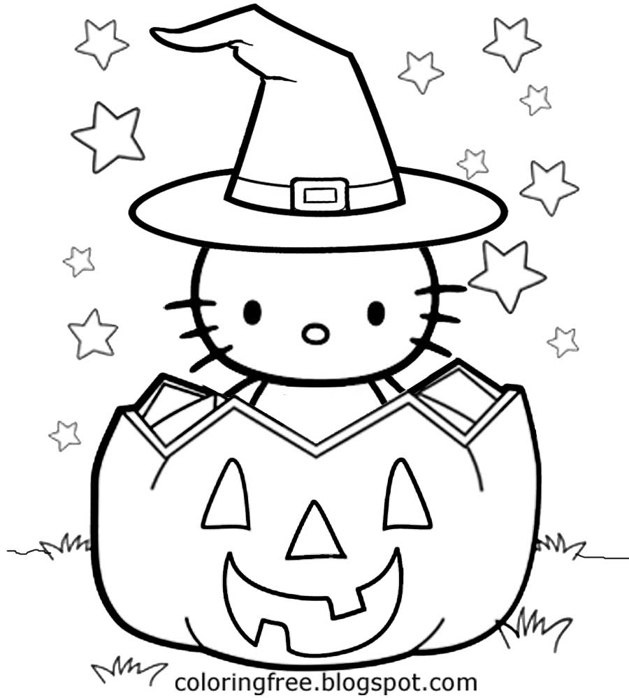 900x1000 Hello Kitty Halloween Coloring Pages Free Printable Pictures