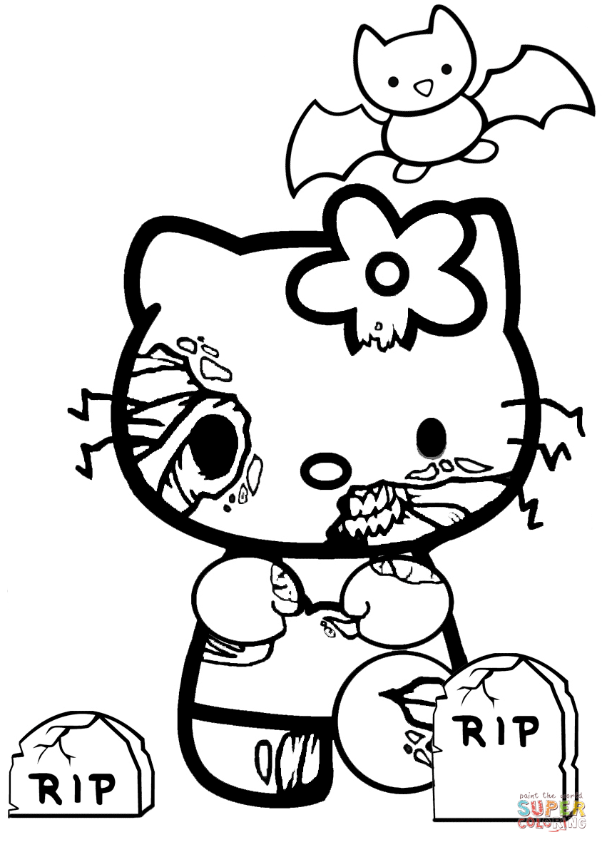 844x1188 Hello Kitty Halloween Coloring Pages Zombie Page Free Printable