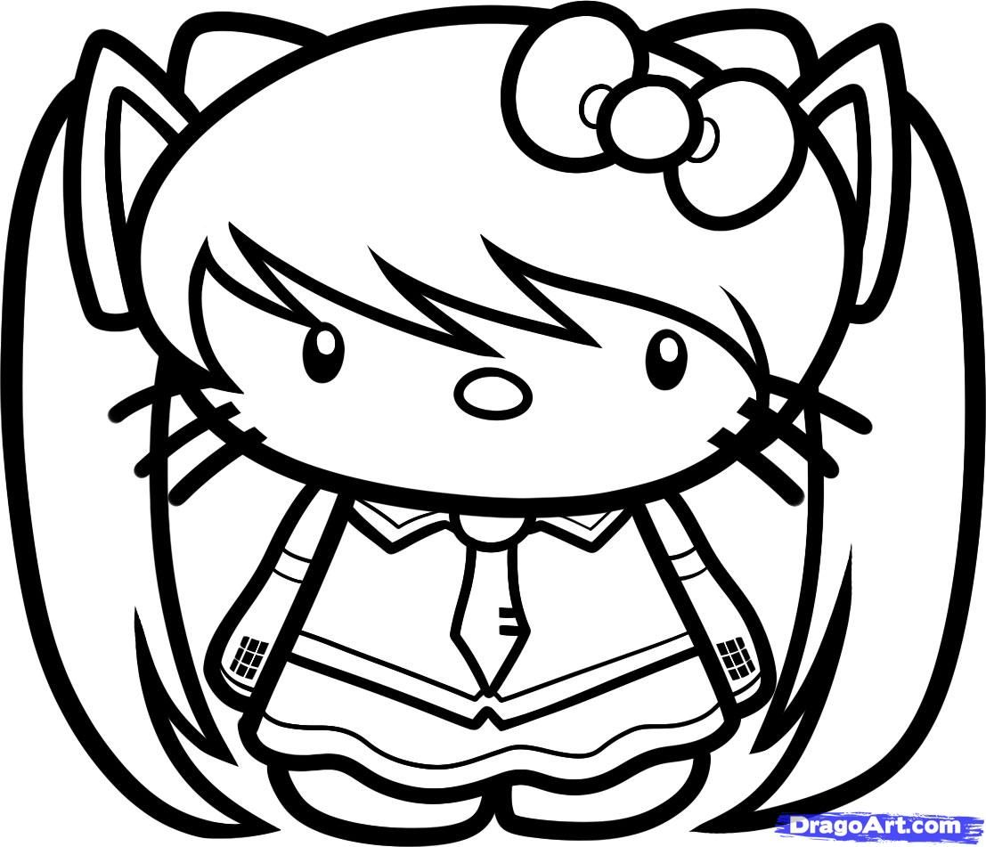 1107x951 Coloring Pages Hello Kitty How To Draw Miku Hatsune Hello Kitty