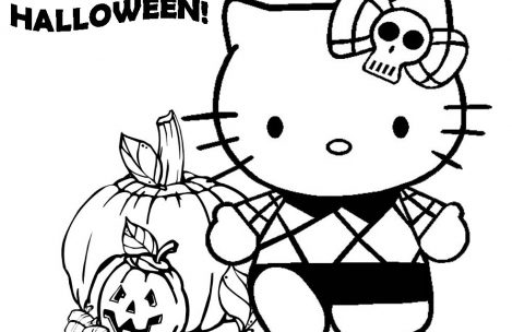 469x304 Hello Kitty Halloween Coloring Pages For Kids Just Colorings