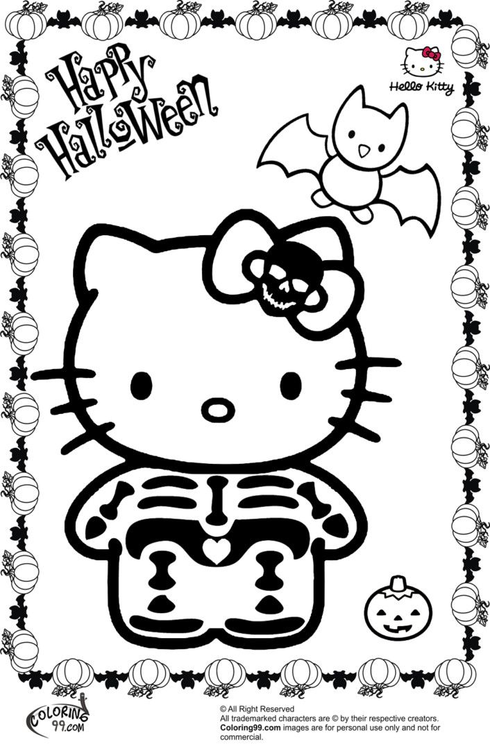 706x1080 Kitty Halloween Coloring Pages