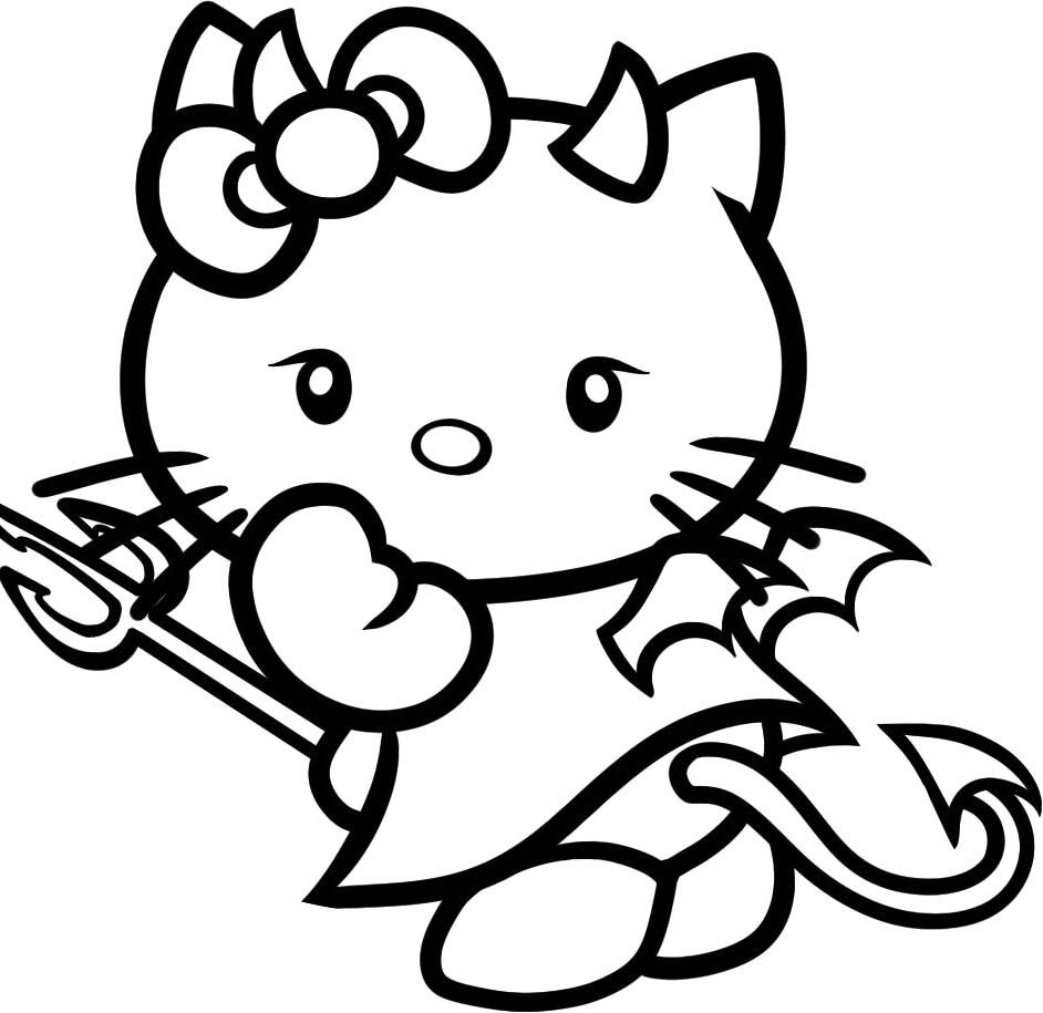 942x915 Cartoons Animals Hello Kitty Angry Coloring Page