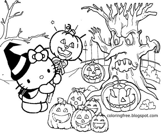 Hello Kitty Haloween Coloring Pages