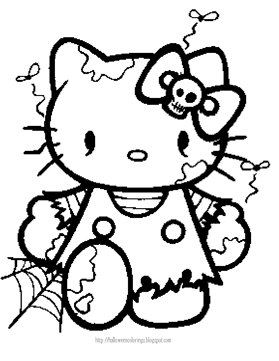 569x737 Halloween Coloring Page Of Hello Kitty As A Zombie Plantilles