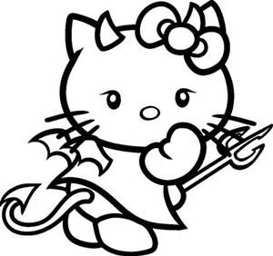 300x282 Hello Kitty Halloween Coloring Pages