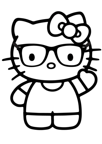 339x480 Hello Kitty Nerd Coloring Page Hello Kitty