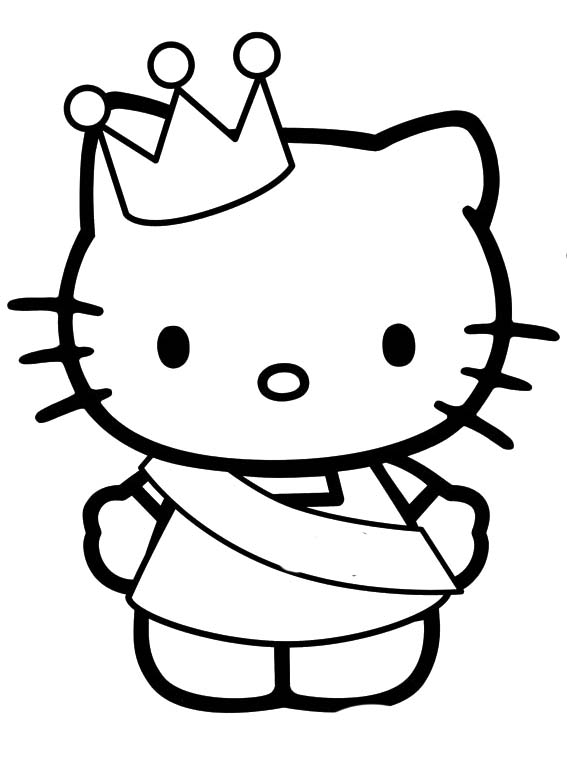 567x772 Hello Kitty Wearing A Crown Coloring Page Coloring Sheets
