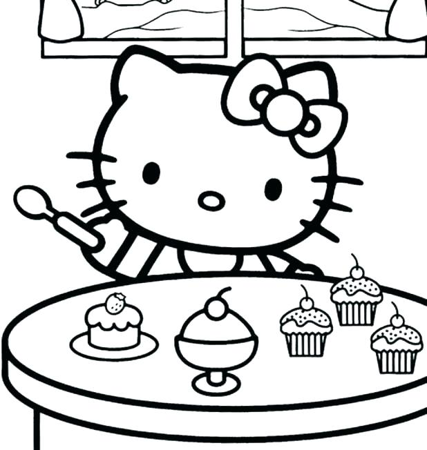 618x652 Hello Kitty Birthday Coloring Page Kitty Coloring Pages Packed