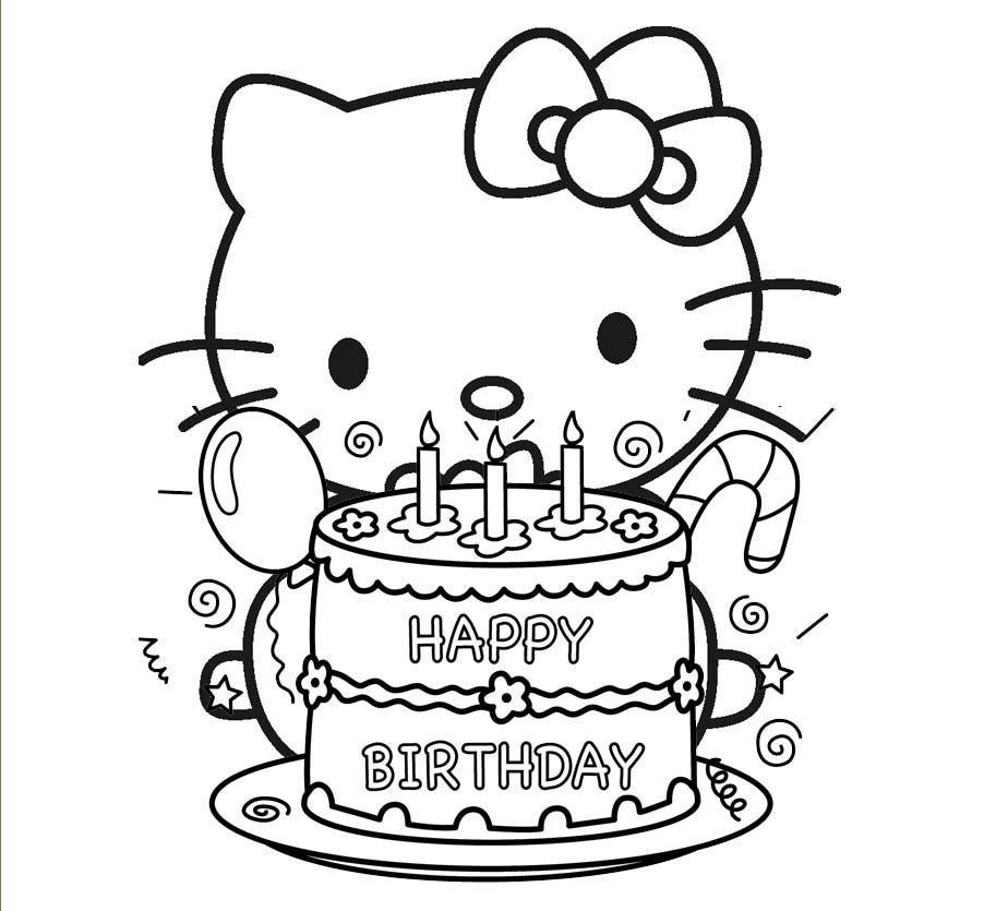 902x835 Hello Kitty Birthday Coloring Pages