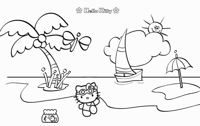 765x482 Exelent Hello Kitty Summer Coloring Pages Motif
