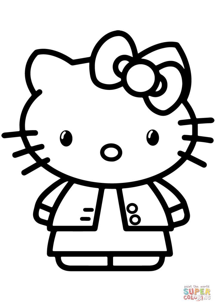 724x1024 Gambar Hello Kitty Cartoon Coloring Page
