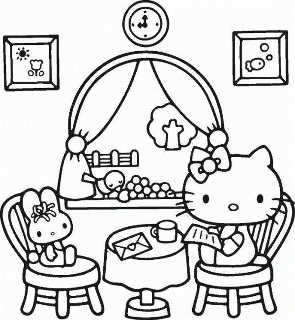600x650 Hello Kitty Reading Mail Coloring Page