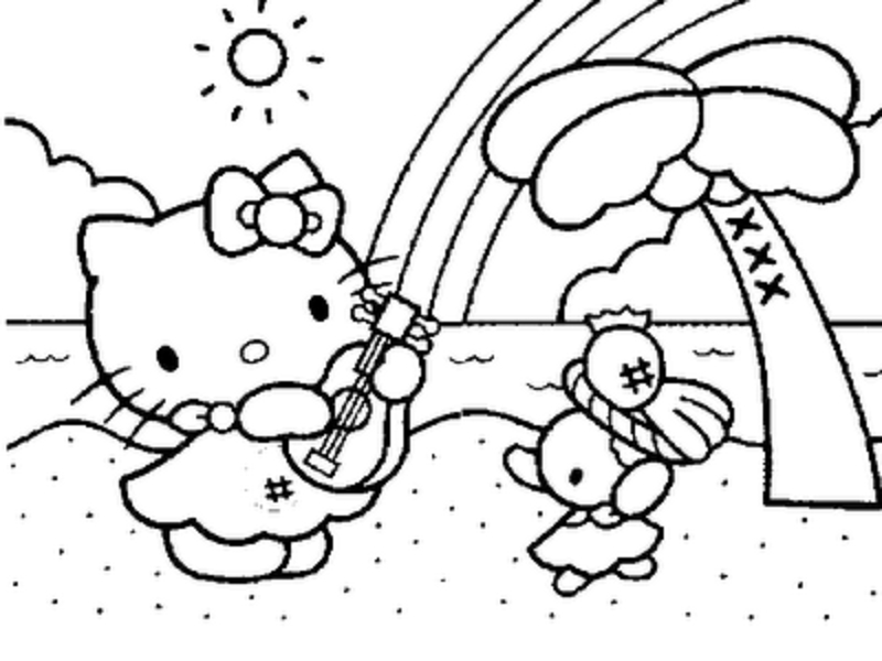800x600 Hello Kitty Summer Coloring Pages