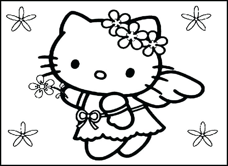 735x535 Hello Kitty Summer Coloring Pages Free Printable For Kids