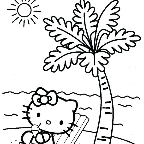 600x600 Hello Kitty Summer Coloring Pages La