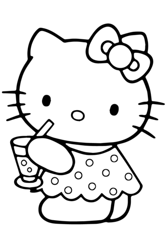 339x480 Hello Kitty Summer Coloring Page Hello Kitty